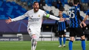 Sergio Ramos celebra el gol logrado ante el Inter, que hacía el...