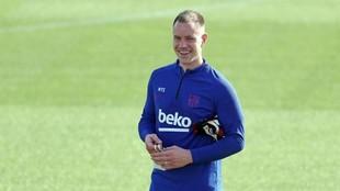 Ter Stegen, sonriente en una sesión con el Barça.