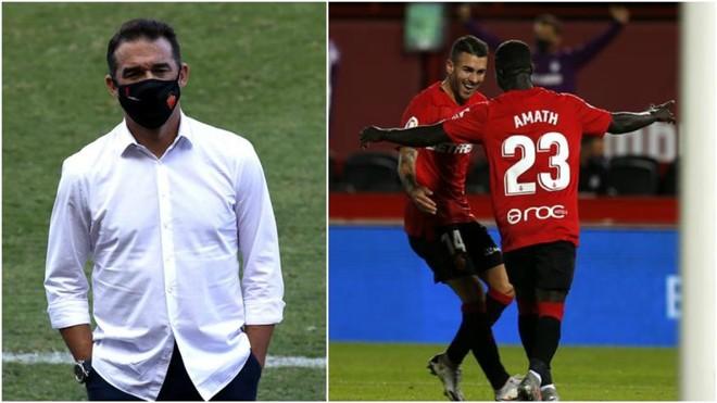 Un montaje de Luis García y los jugadores del Mallorca celebrando un...