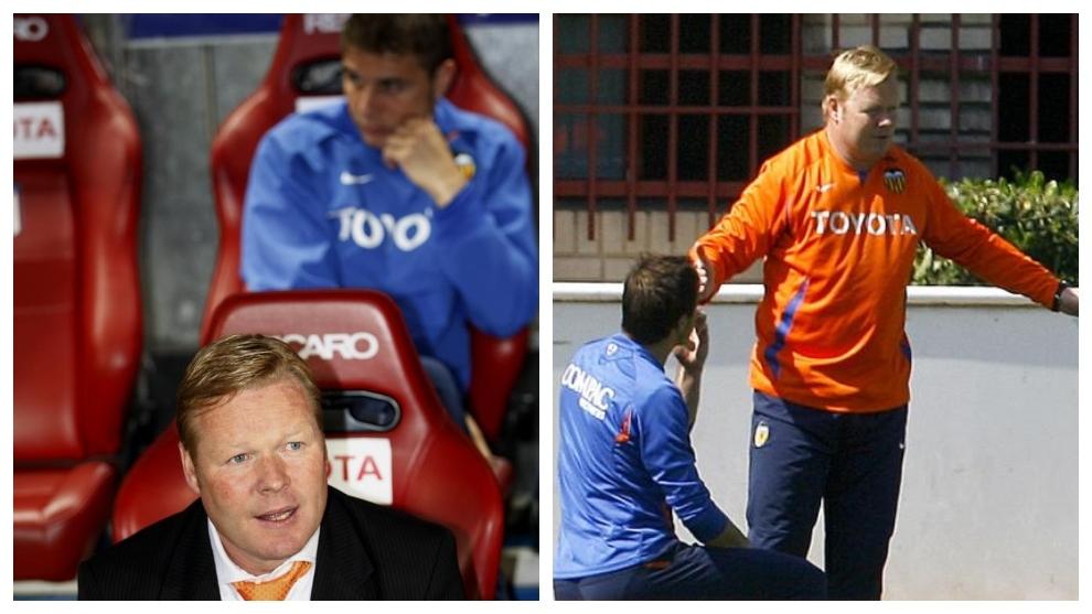 Koeman y Joaquín, en el banquillo de la final de Copa de la 2007-2008...