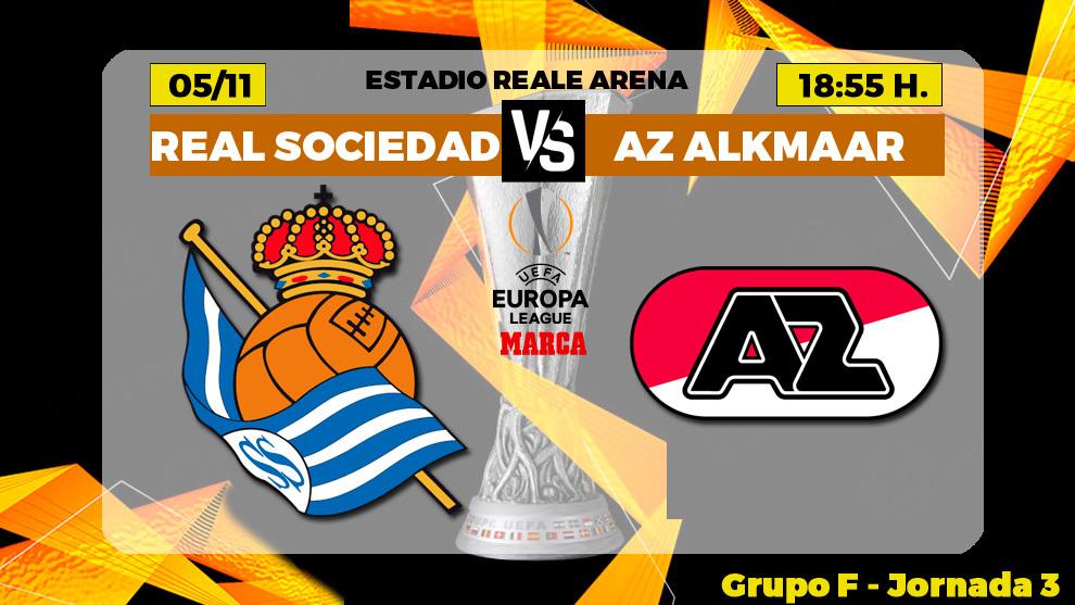 Real Sociedad - AZ Alkmaar: horario y donde ver por TV hoy el partido...