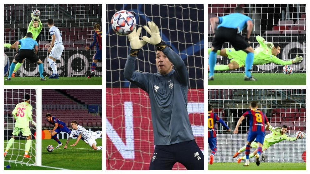 Ruslan Neshcheret, en acción contra el Barcelona en el Camp Nou.