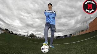 Gaku Shibasaki posa para MARCA en la Ciudad Deportiva de Butarque...