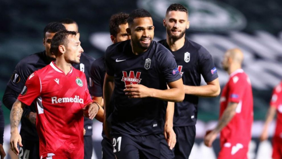 Yangel Herrera celebra su gol contra el Omonia