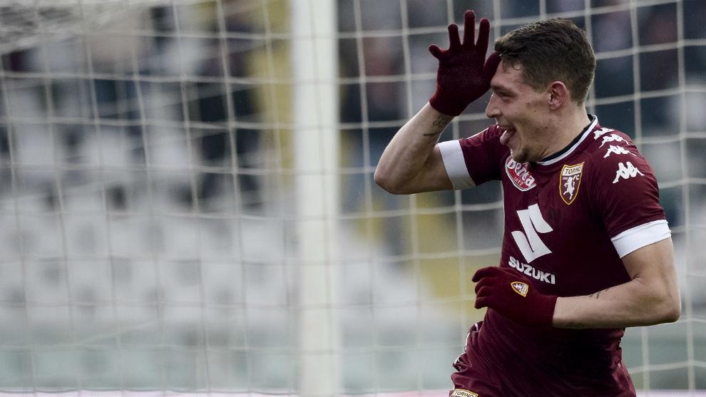 Andrea Belotti con su mítica celebración tras marcar con el Torino.