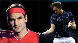 Federer y Medvedev, en acción