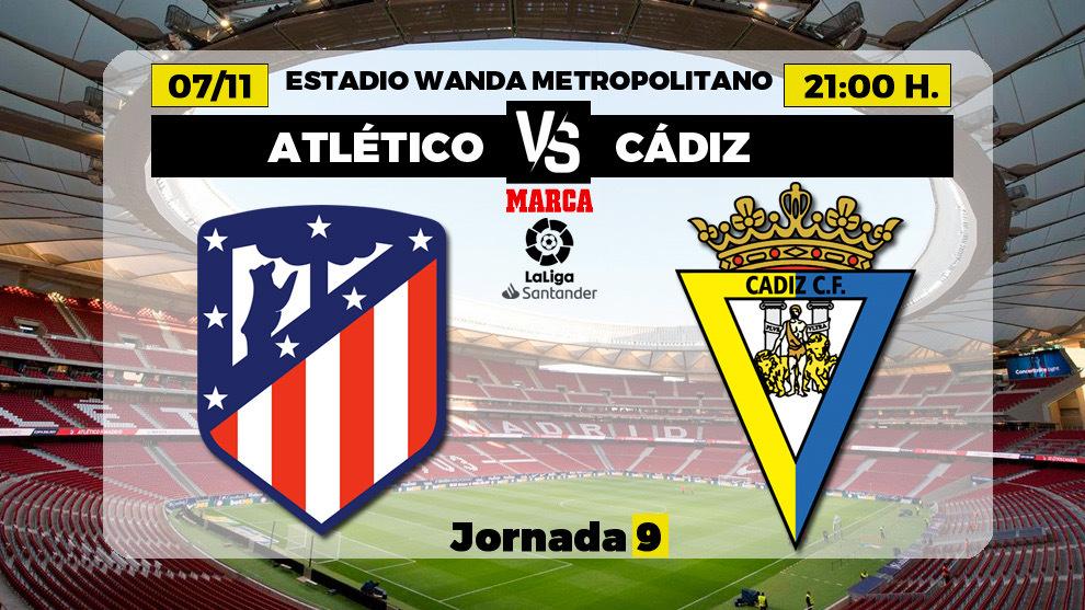 Atlético de Madrid - Cádiz: horario y dónde ver hoy en TV el partido de la jornada 9 de Liga