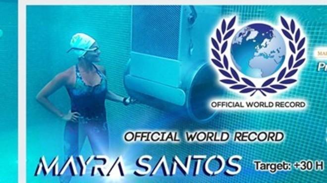 La portuguesa Mayra Santos nada 31 horas contra la corriente de una turbina