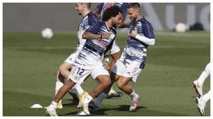Marcelo, en el calentamiento de su último partido jugado ante el...