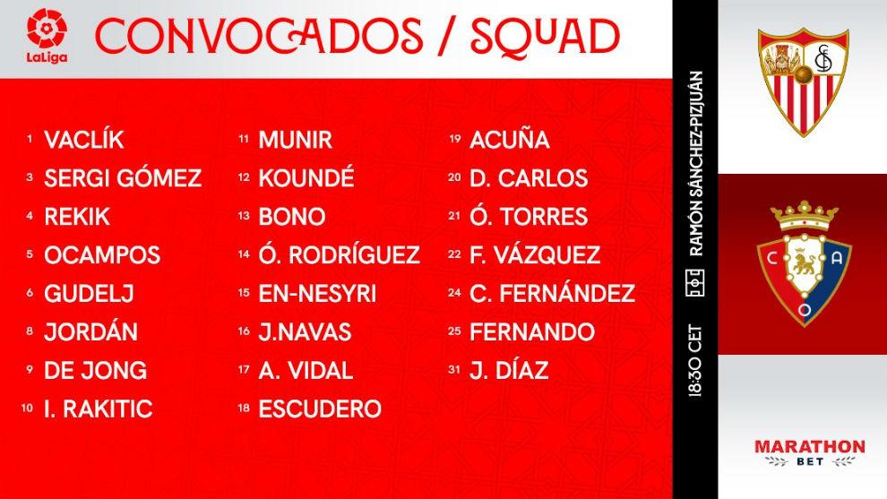Sergi Gómez, novedad en una lista de 23 jugadores para recibir a Osasuna