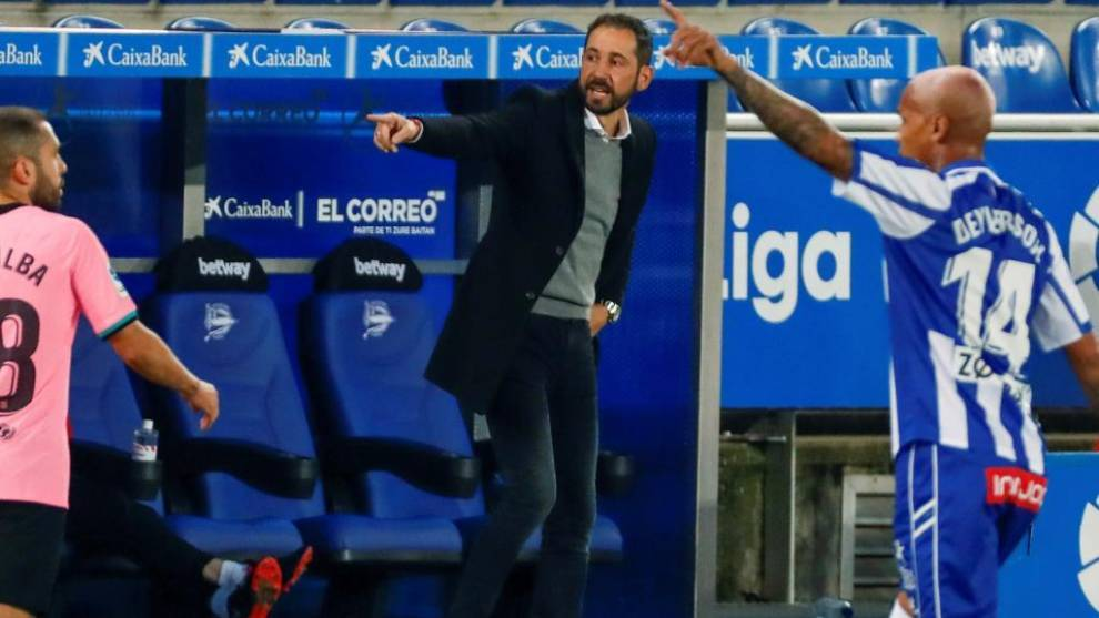 Pablo Machín en el encuentro frente al FC Barcelona