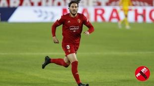 Juan Cruz, durante el partido disputado por Osasuna en el Sánchez...