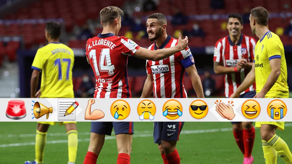 Llorente y Koke celebrando el gol de Marcos frente al Cádiz.