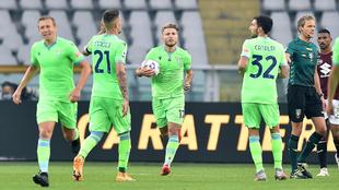 Jugadores de la Lazio en el partido de la Serie A ante el Torino.