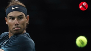 Rafa Nadal, en un momento de su derrota ante Zverev en París.