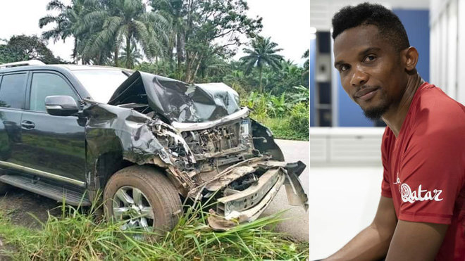ซามูเอลเอโตไม่ได้รับอันตรายหลังรถชนหนักในแคเมอรูน