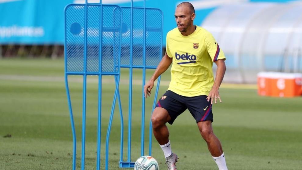 Martin Braithwaite, en una sesión con el Barcelona.