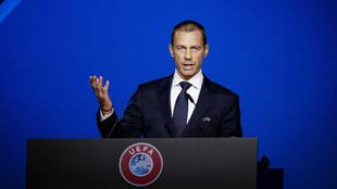 Ceferin en una ceremonia de la UEFA