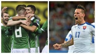 Irlanda del Norte celebra un gol de Steven Davies. Hamsik grita un gol...