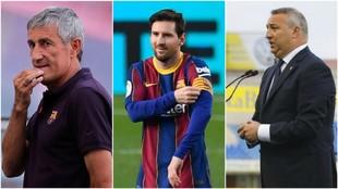 Un montaje fotográfico con Setién, Messi y Miguel Ángel Ramírez.