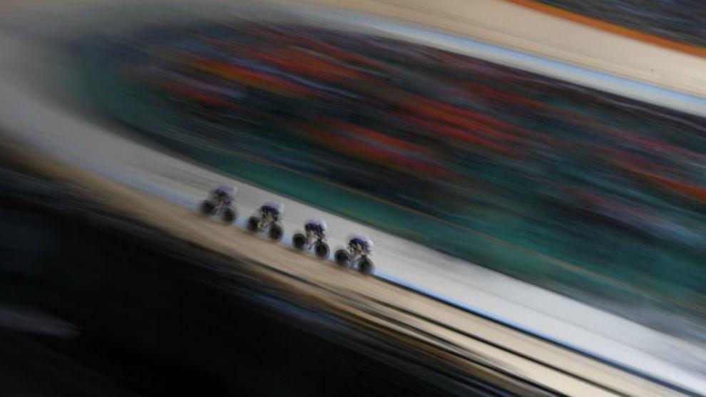 Una prueba de ciclismo en pista.