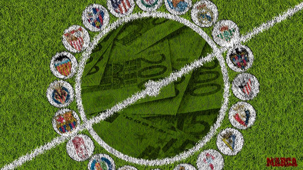 Representación de los escudos de cada club de LaLiga Santander.