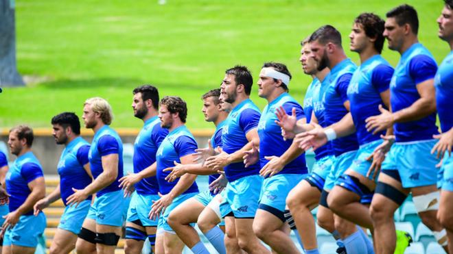 Los Pumas durante un entrenamiento.