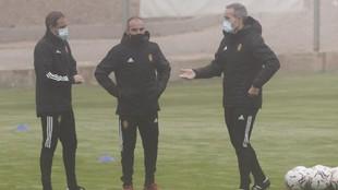 Iván Martínez durante un entrenamiento con el Real Zaragoza.