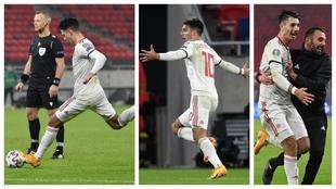 Dominik Szoboszlai golpea el balón en un lance del juego y luego...