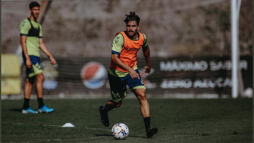Kirian Rodríguez en un entrenamiento con la UD Las Palmas.