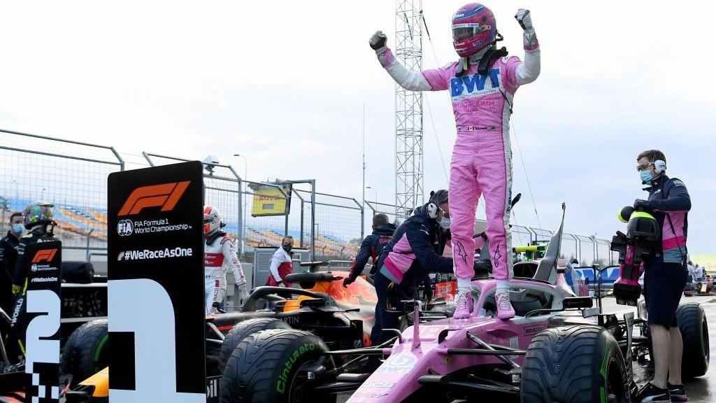 Lance Stroll celebra su pole en el Gran Premio de Turquía