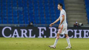 Sergio Busquets en el partido de ayer de la Liga de Naciones entre...