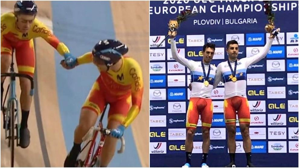 Albert Torres y Sebastián Mora, en la pista y en el podio.