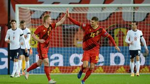 Festejo de Bélgica ante Inglaterra.