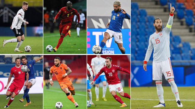 Werner, Lukaku, Insigne, Lewandowski, Depay, Eriksen y Ramos.