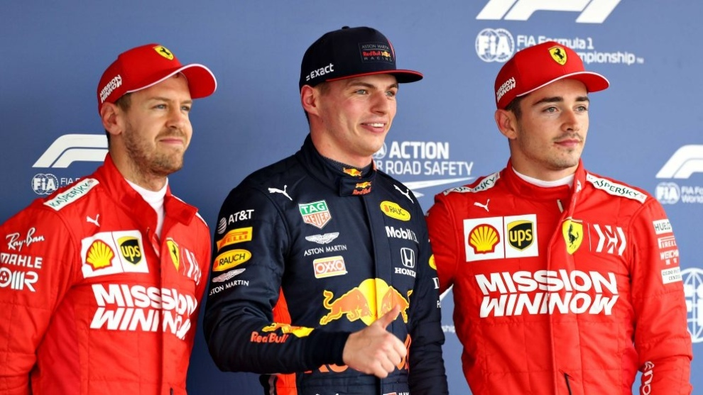 Vettel, Verstappen y Leclerc.