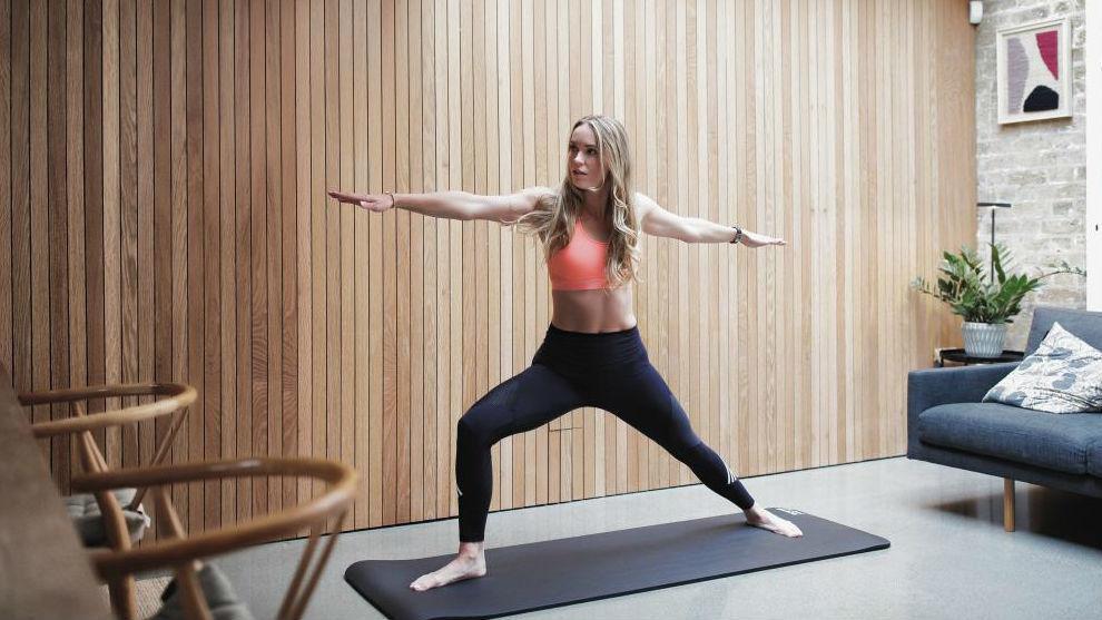 Wozniacki haciendo gimnasia en casa