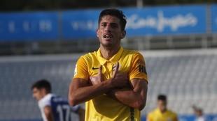 Chavarría celebra un gol en el partido ante el Espanyol