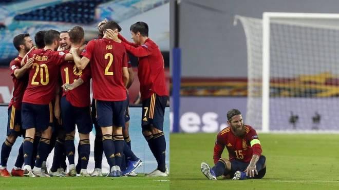 La selección española celebra un gol y Ramos lesionado, durante el...
