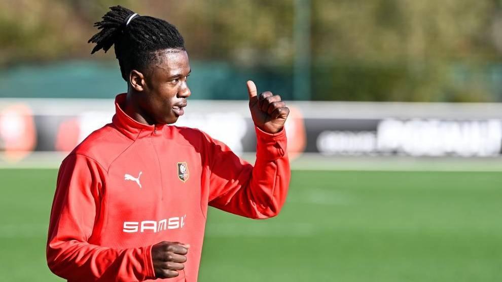 Camavinga, en un entrenamiento de esta temporada con el Rennes.
