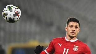 Luka JOvic, en el Serbia-Rusia, en el que marco dos goles