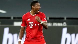 David Alaba, en el partido que enfrentó al Bayern con el Borussia...
