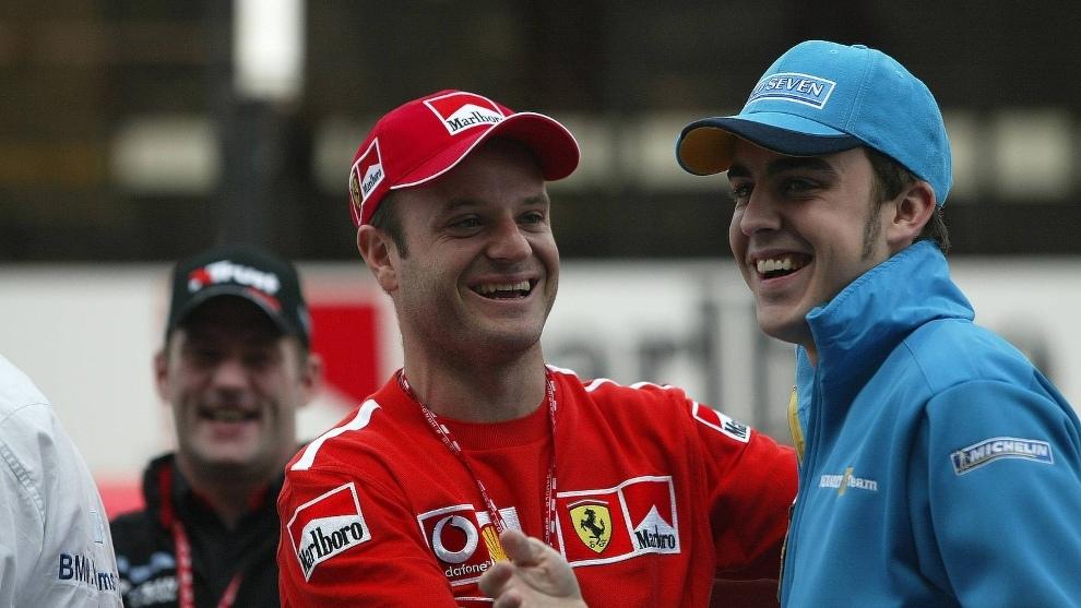 Barrichello y Alonso.