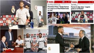 Ramos, en distintos episodios de sus renovaciones con el Madrid