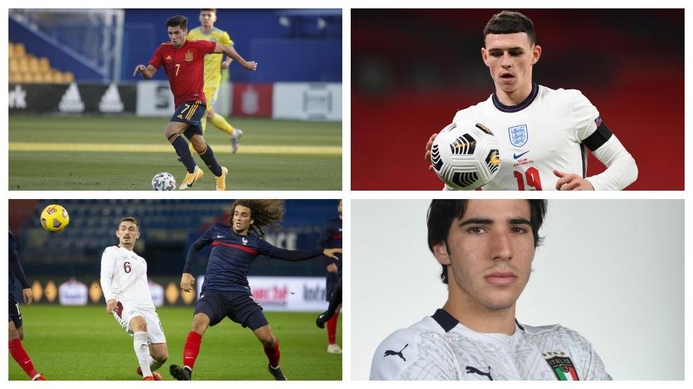 Brahim Díaz, Phil Foden, Matteo Guendouzi y Sandro Tonali.
