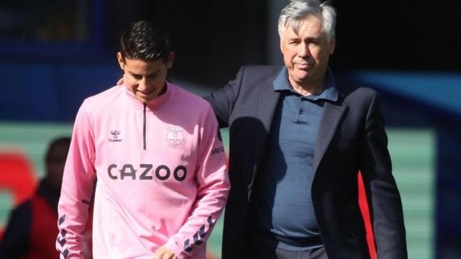 James Rodriguez and Carlo Ancelotti.
