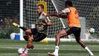 Hazard y Militao, en un entrenamiento del Madrid