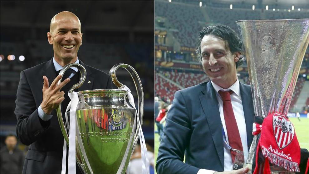 Zidane y Emery, los dos entrenadores con más títulos se enfrentan de...