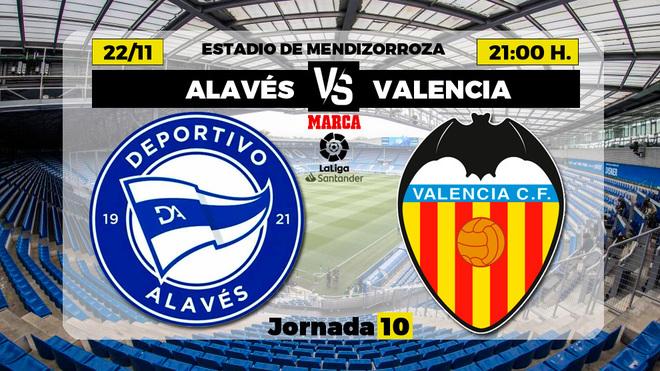 Alavés - Valencia: horario y dónde ver por TV el partido de la jornada 10 de Primera División