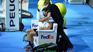 Granollers, atendido por el fisioterapeuta del torneo